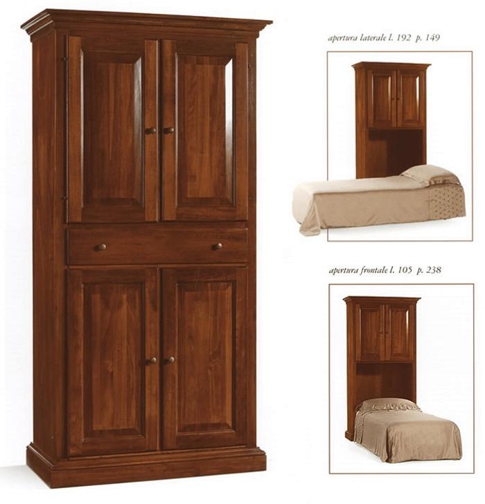 Mobile letto singolo in legno massello art im2131 - Letto con mobile ...